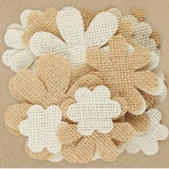 40 pétales de fleur en jute 3.4 , 4.9 cm Papermania CREME ET FICELLE