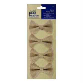4 grands noeux en jute Papermania 8.4 cm FICELLE