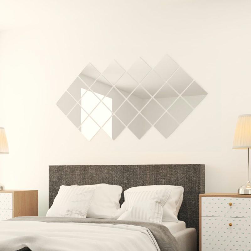 Vidaxl carreau de miroir 24 pcs carr verre miroir for Miroir dans l art