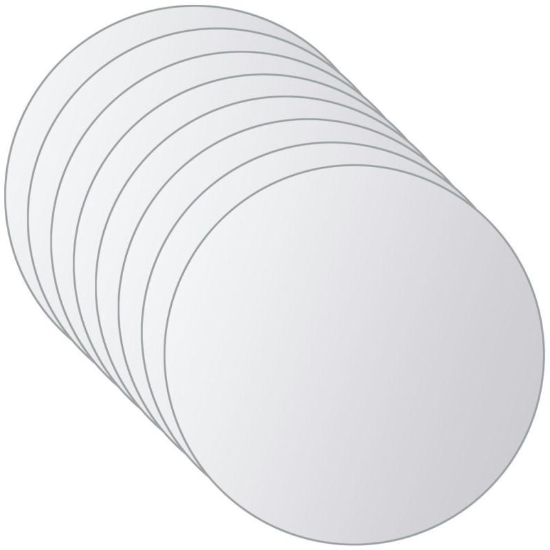vidaxl carreau de miroir 8 pcs rond verre miroir adh sif