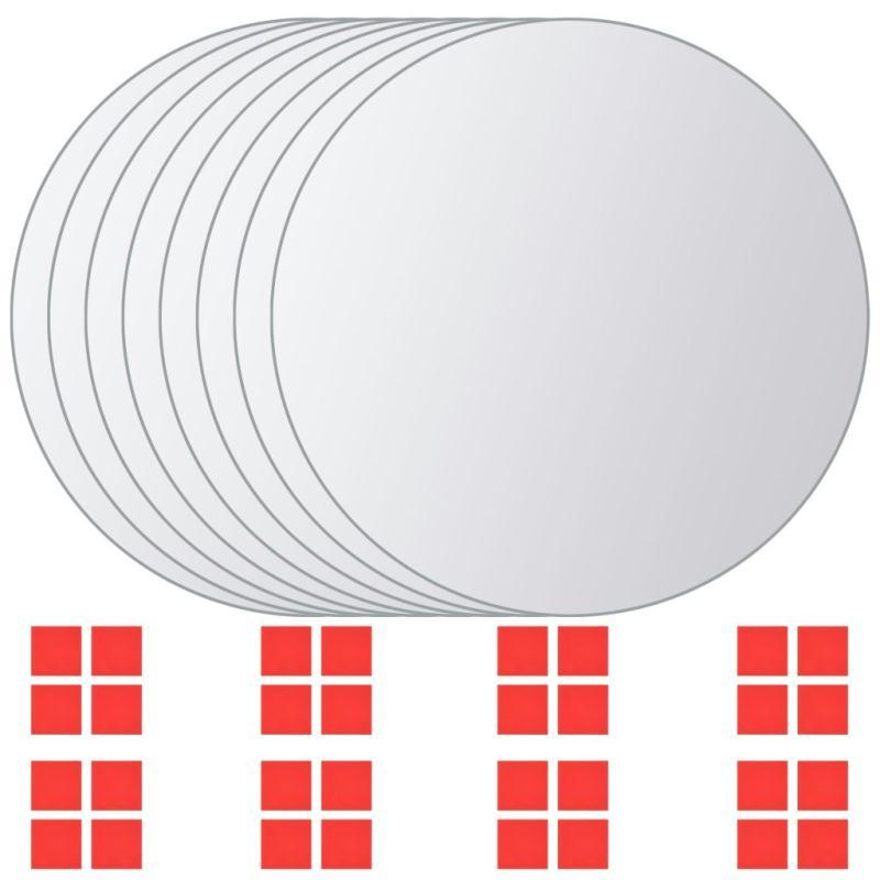 Vidaxl carreau de miroir 8 pcs rond verre miroir adh sif for Miroir de la tauromachie