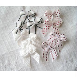 Lot 10 noeuds blancs décoratifs assortiment pois, vichy, uni