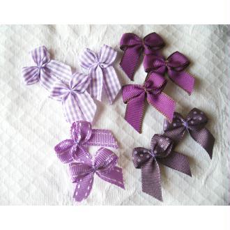 Lot 10 noeuds violet décoratifs assortiment pois, vichy, uni