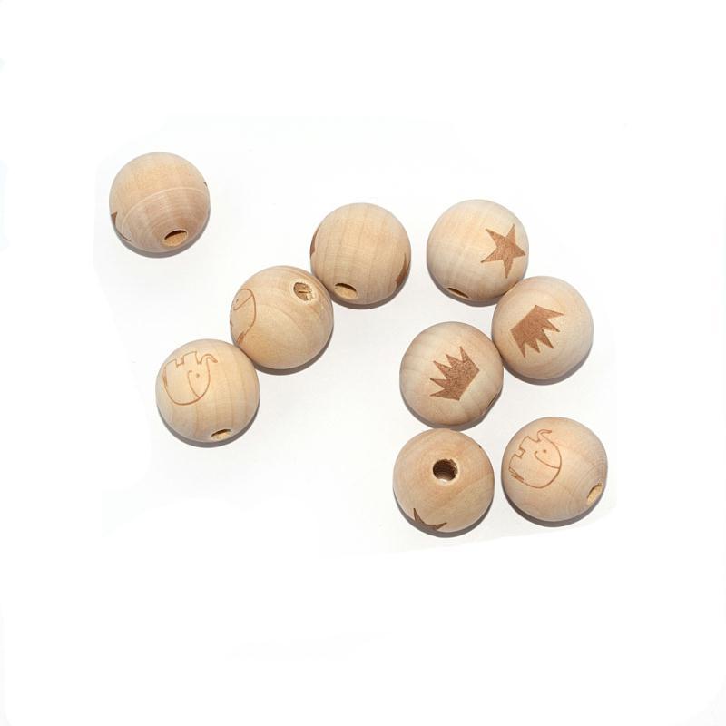 perle en bois ronde 20 mm imprim couronne naturel. Black Bedroom Furniture Sets. Home Design Ideas
