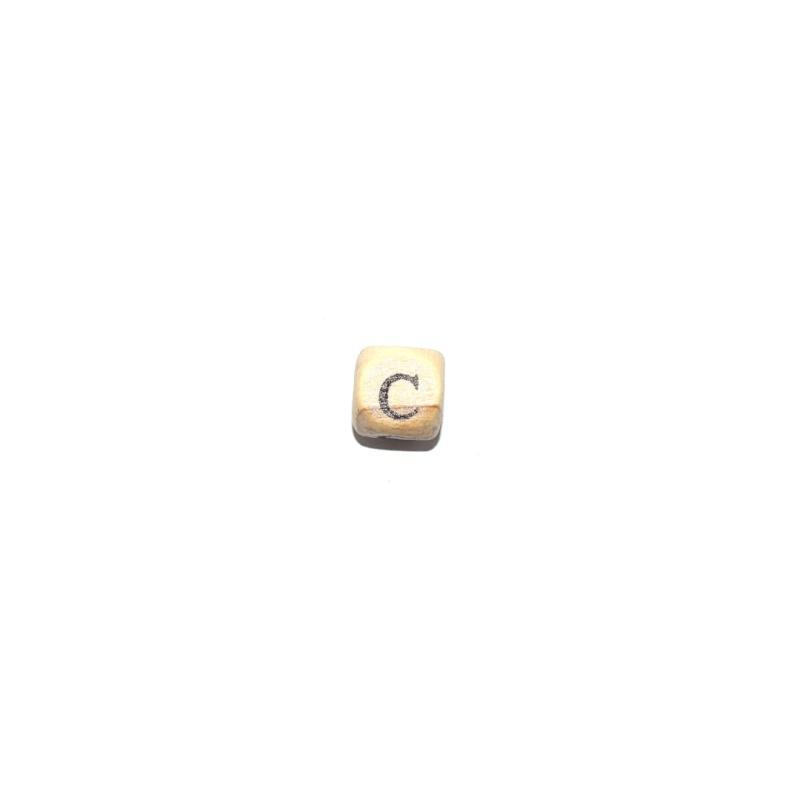 perle c alphabet cube 10 mm en bois naturel perles bois. Black Bedroom Furniture Sets. Home Design Ideas
