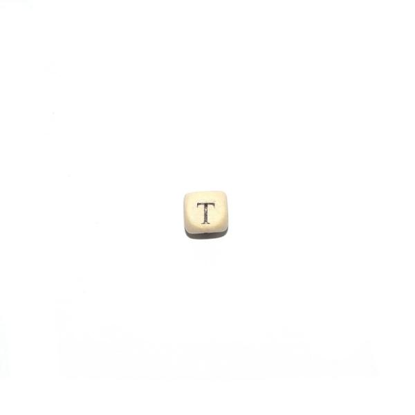 perle lettre t alphabet cube 10 mm en bois naturel perles alphabet creavea