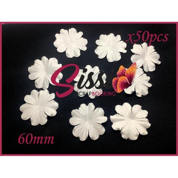 Maxi lot 50 fleurs tissu ivoire écru mariage robe de mariée déco customisation 60mm - Photo n°1