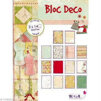 Papier scrap P'tit Bloc Miss couture 15 x 20 cm - 28 feuilles