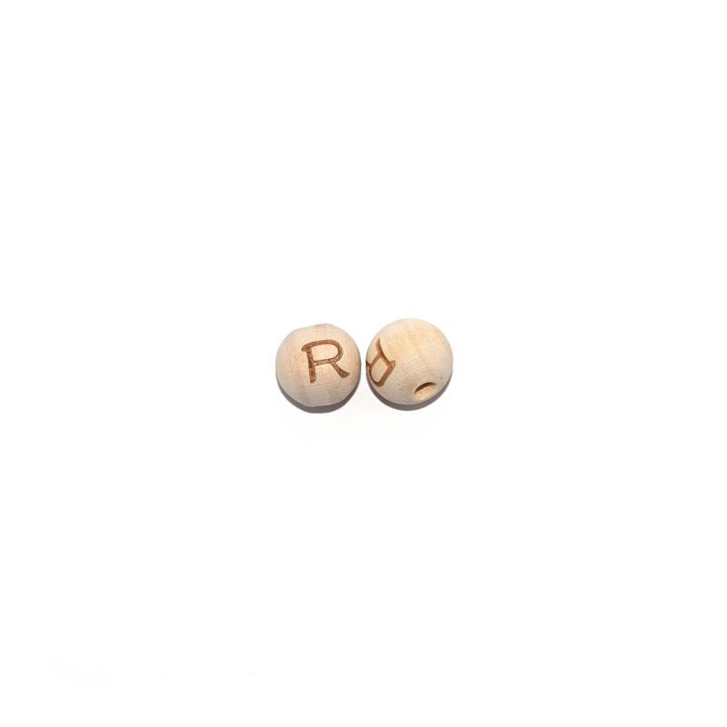 perle lettre r ronde 14 mm en bois naturel perles. Black Bedroom Furniture Sets. Home Design Ideas