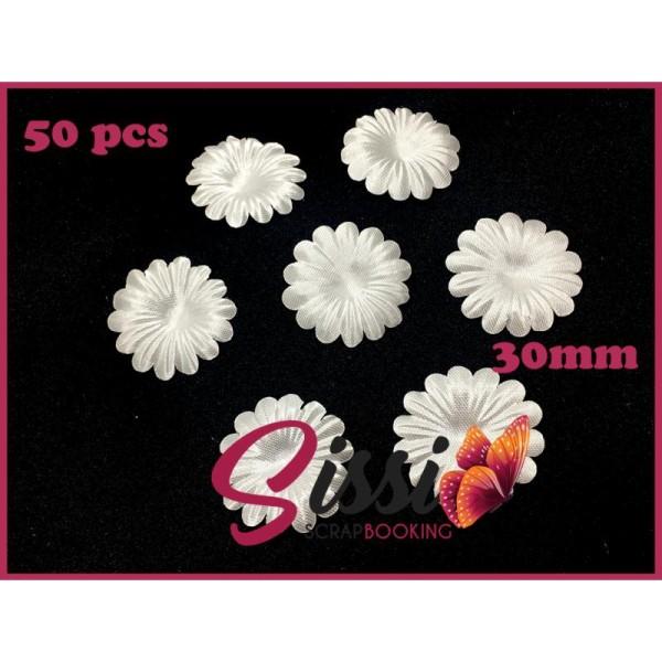 Maxi lot 50 fleurs tissu ivoire écru mariage robe de mariée 30mm - Photo n°1