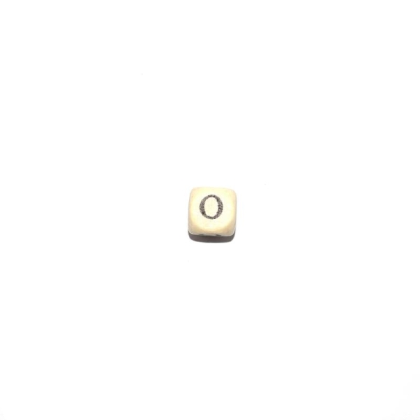 perle lettre o alphabet cube 10 mm en bois naturel perles alphabet creavea