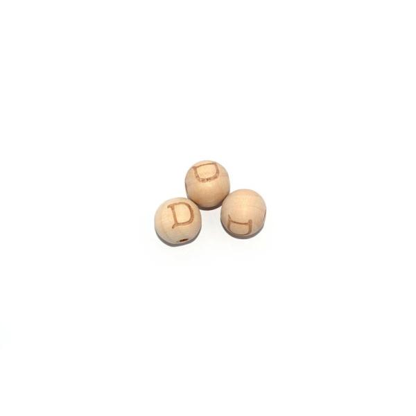 perle lettre d ronde 14 mm en bois naturel perles alphabet creavea
