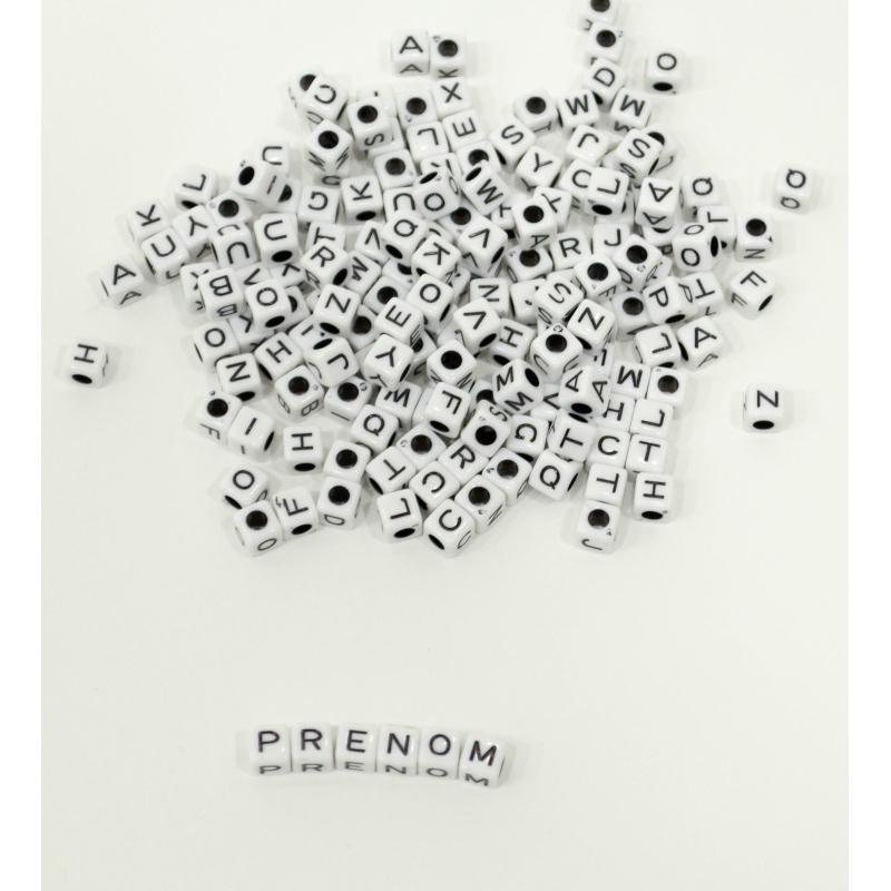 50 perle 7mm blanche lettre alphabet cube braclet attache - Porte cles en bois ...