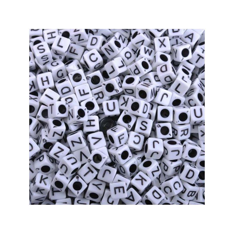 200 perle 7mm blanche lettre alphabet cube braclet - Porte cles en bois ...