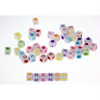 200 Perles Alphabet 7mm Blanche Ecriture Mixte Lettre Cube Braclet, Attache tetine, Porte clé...