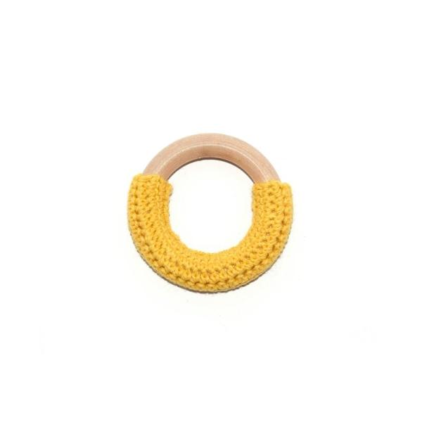 Anneau de dentition rond en bois et crochet jaune - Photo n°1