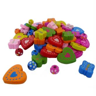 Perles en bois Mix Coeur/Papillon/Perle ronde - Sachet de 60 pièces