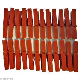 Pinces à linge mini Rouge bordeaux 3 cm x 24