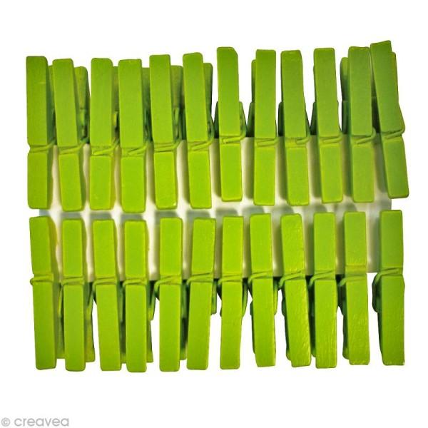 Pinces à linge mini Vert anis 3 cm x 24 - Photo n°1