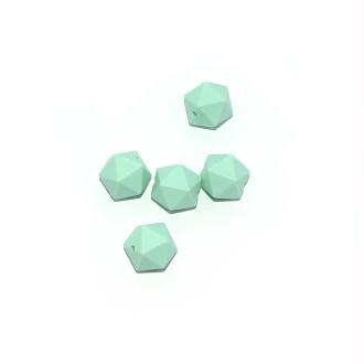 Perle silicone 14 mm hexagonale vert