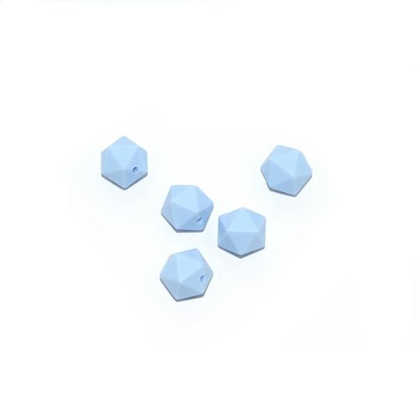 Perle silicone 14 mm hexagonale bleu - Photo n°1