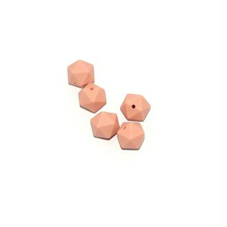Perle silicone 14 mm hexagonale beige