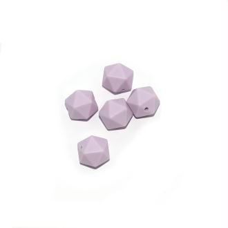 Perle silicone 14 mm hexagonale violet