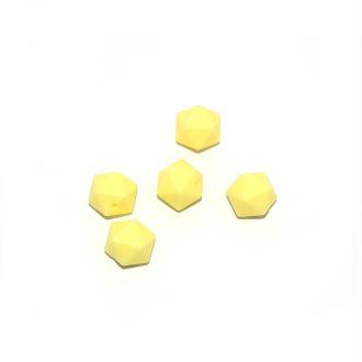 Perle silicone 14 mm hexagonale jaune