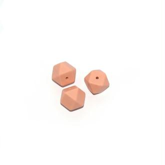 Perle silicone 17 mm hexagonale beige