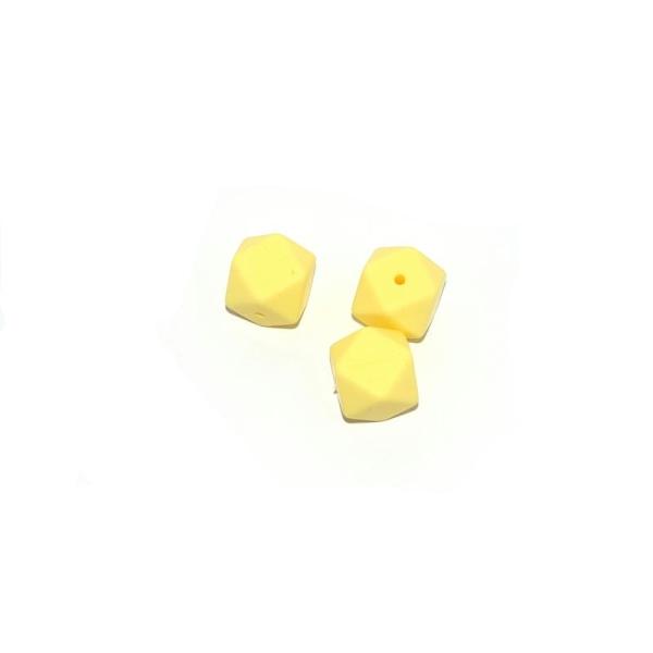 Perle silicone 17 mm hexagonale jaune - Photo n°1