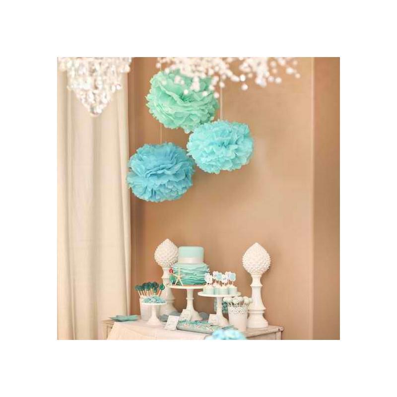 x 1 pompon en papier de soie bleu turquoise 20 cm d coration mariage creavea. Black Bedroom Furniture Sets. Home Design Ideas