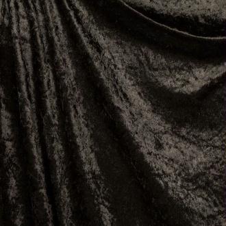 Tissu panne de velours - Noir - PAR 50CM