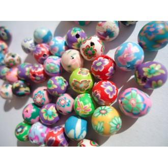 Lot de 20 Perles en pate polymère 8 à 12 mm - Rondes multicolores