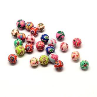 Lot de 10 Perles en pate polymère Rondes