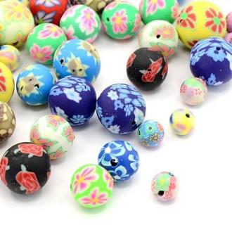 Lot de 20 Perles en pate polymère  - Rondes multicolores