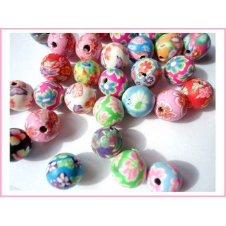 Lot de 20 Perles en pate polymère 8 mm - Rondes multicolores