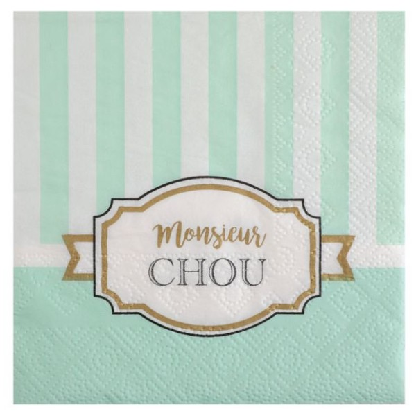 20 Serviettes papier Baby Shower vert - Photo n°1