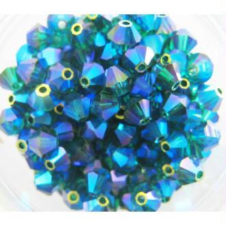 Lot 20 Toupies Cristal Swarovski Emeraude AB2X - 4 mm
