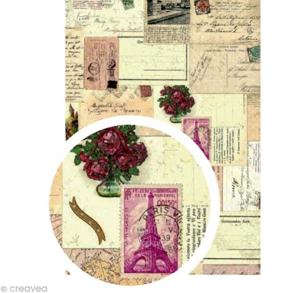 Tissu adhésif A4 Papiers anciens - Photo n°1