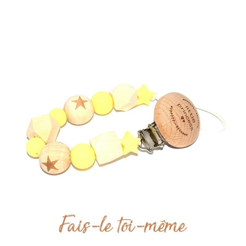 Attache t tine avec perles en bois et silicones jaune - Perle en bois pour attache tetine ...