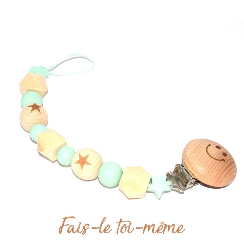 Attache t tine avec perles en bois et silicones vert kit bijoux enfant creavea - Perle en bois pour attache tetine ...