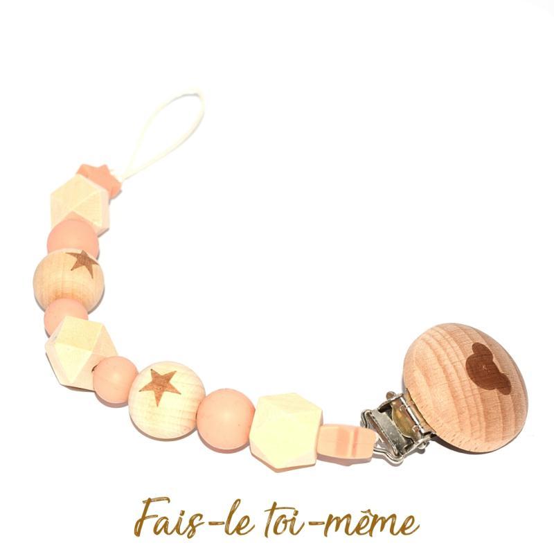 Attache t tine avec perles en bois et silicones beige - Perle en bois pour attache tetine ...