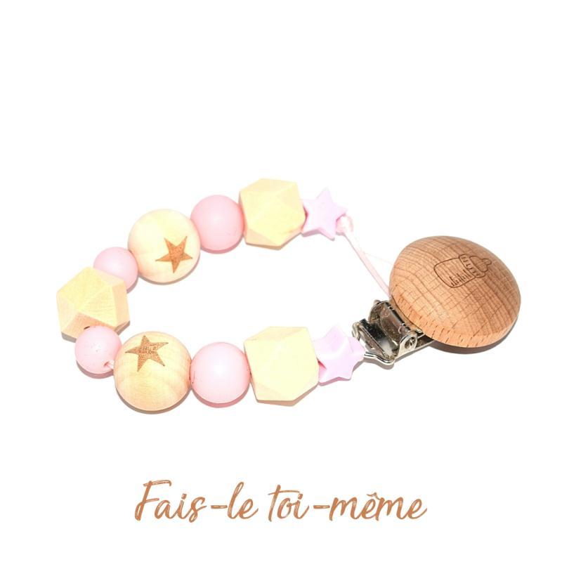 Attache t tine avec perles en bois et silicones rose kit bijoux enfant creavea - Perle en bois pour attache tetine ...