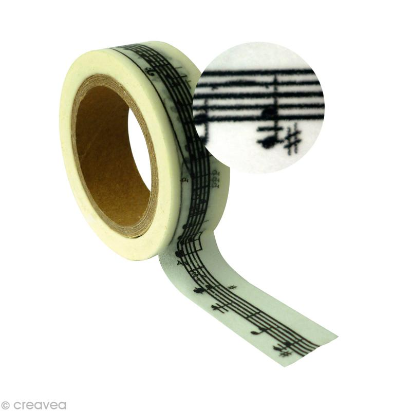 ruban adh sif d coratif port e musique 15 mm x 10 m masking tape motif creavea. Black Bedroom Furniture Sets. Home Design Ideas