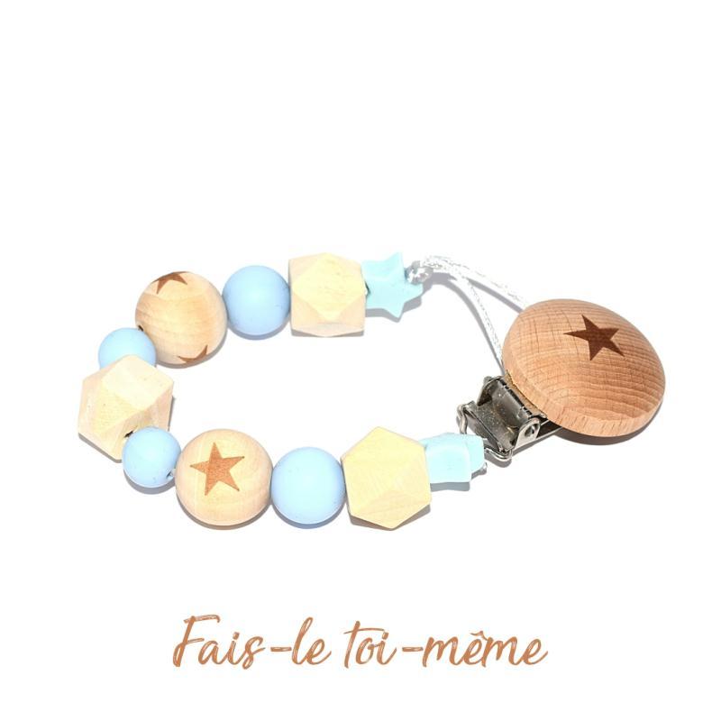 Attache t tine avec perles en bois et silicones bleu kit bijoux enfant creavea - Perle en bois pour attache tetine ...