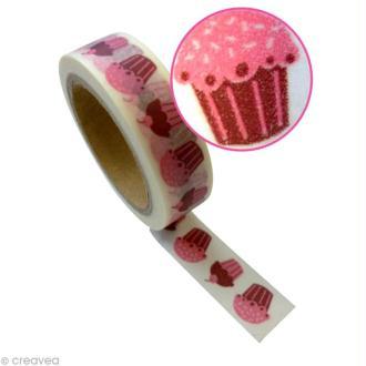 Ruban adhésif décoratif - Cupcakes 15 mm x 10 m
