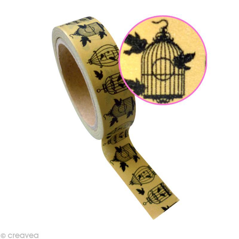 ruban adh sif d coratif cage oiseau 15 mm x 10 m masking tape motif creavea. Black Bedroom Furniture Sets. Home Design Ideas