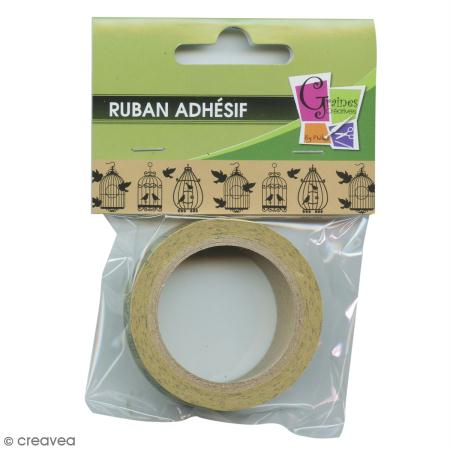 ruban adh sif d coratif cage oiseau 15 mm x 10 m masking tape motif creavea. Black Bedroom Furniture Sets. Home Design Ideas