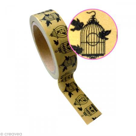 Ruban adh sif d coratif cage oiseau 15 mm x 10 m - Ruban adhesif decoratif ...