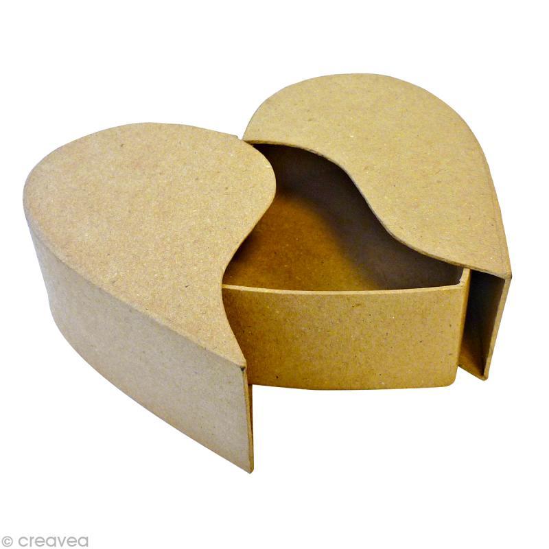 Bo te coeur 2 parties en carton 17 cm boite en carton d corer creavea - Boite en carton a decorer ...